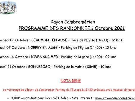 Randonnées avec le Rayon Cambremérien : programme d'octobre 2021