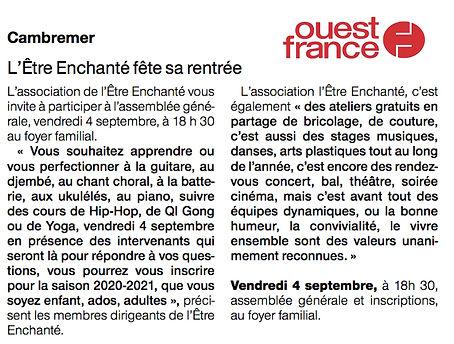 Letre Enchanté - Ouest France - Septemb