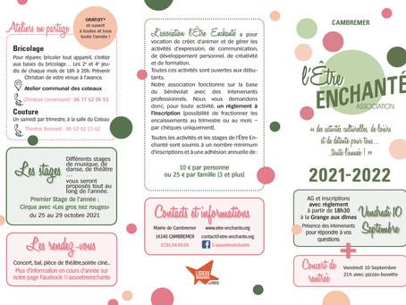 AG de l'Être Enchanté : programmation 2021-2022