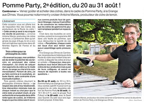Pomme Party - Ouest France - Août 2020
