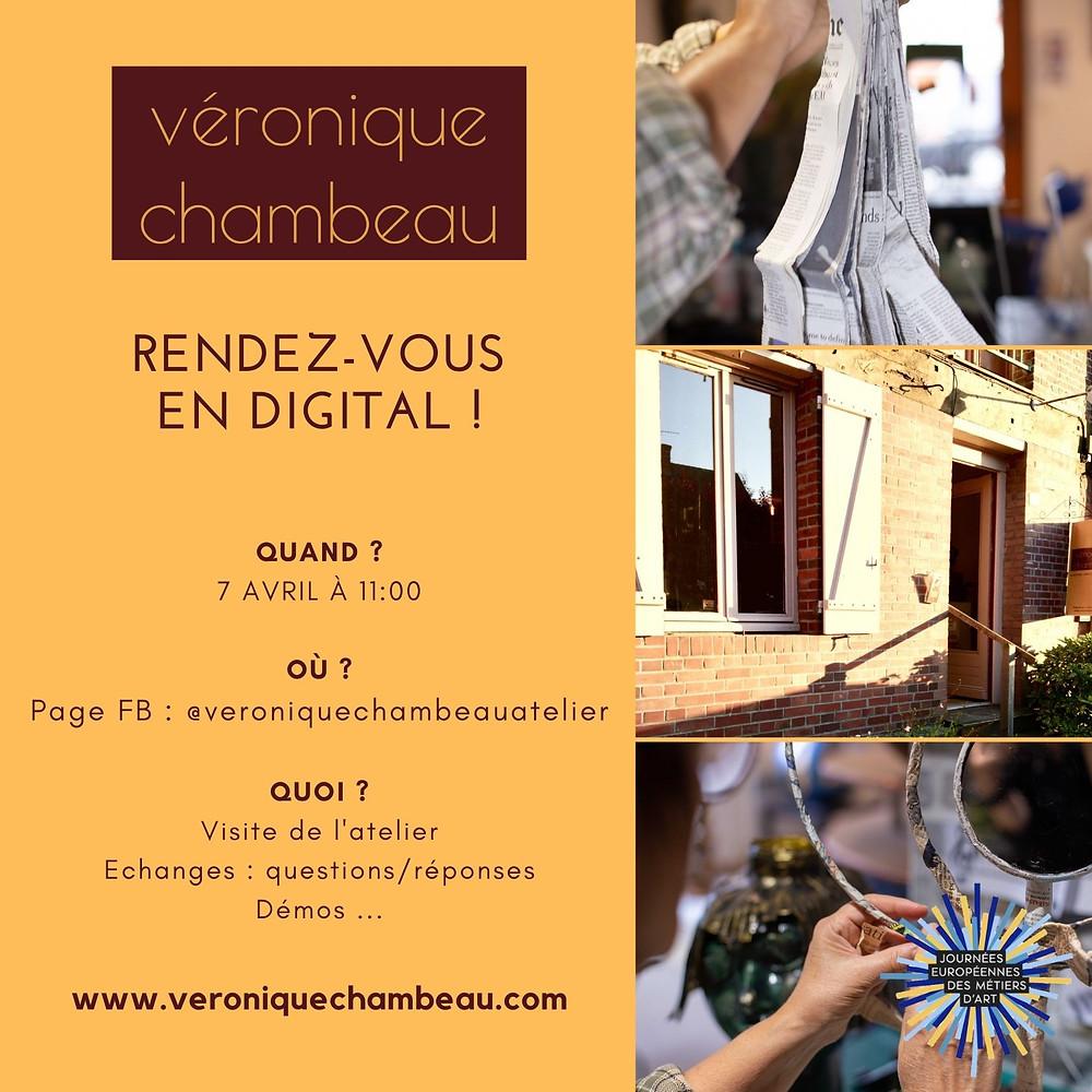 Le 7 avril à 11h rendez vous sur la page FaceBook de Veronique Chambeau pour la visite de son atelier.