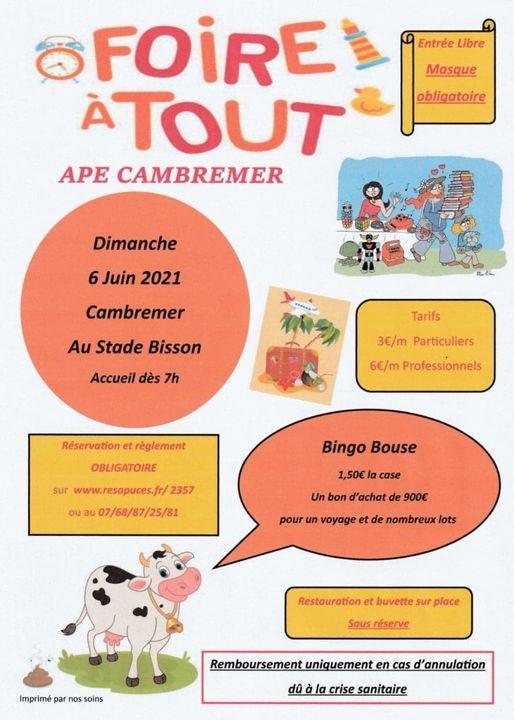 L'APE de Cambremer organise sa traditionnelle Foire à Tout.