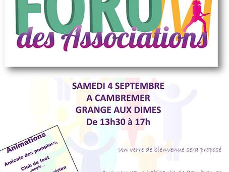 Forum des Associations : 4 septembre 2021
