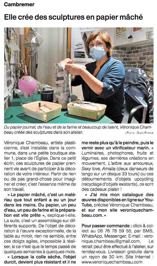 Véronique Chambeau - Article dans le journal Ouest France du 9 novembre 2020