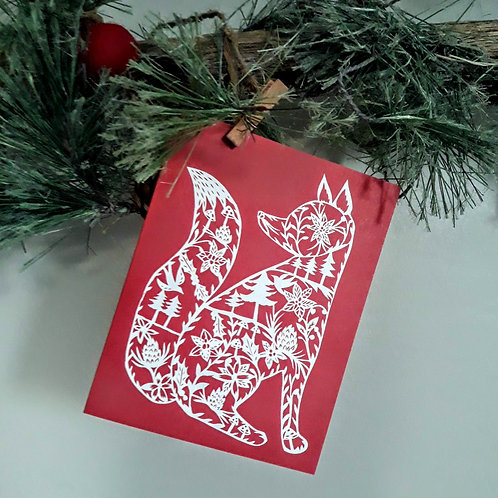 Annie Howe Papercuts Fox Greeting Card