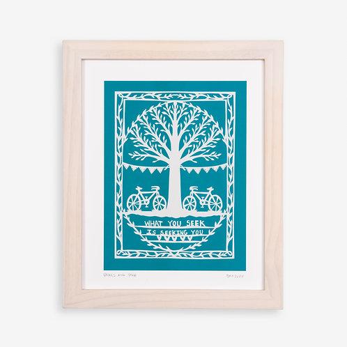 Annie Howe Papercuts Bikes and Tree print