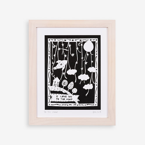 Annie Howe Papercuts Love you to the Moon print