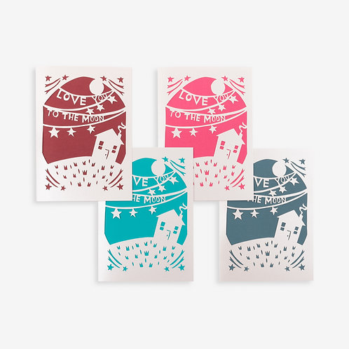 Annie Howe Papercuts Love you to the moon laser cut card