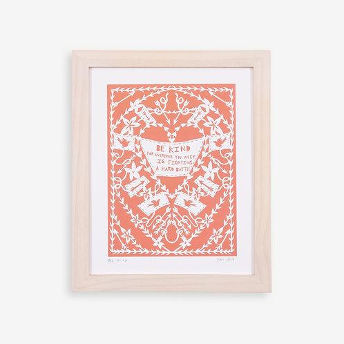 Annie Howe Papercuts Be kind print