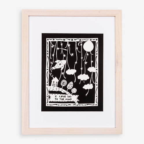 Annie Howe Papercuts Love you to the Moon Laser Cut