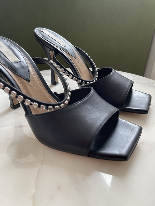 H&M embellished leather mules