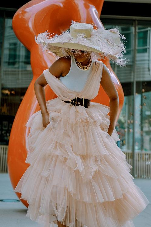 Romeo's FashionFix x Coast Maxi blush tulle dress