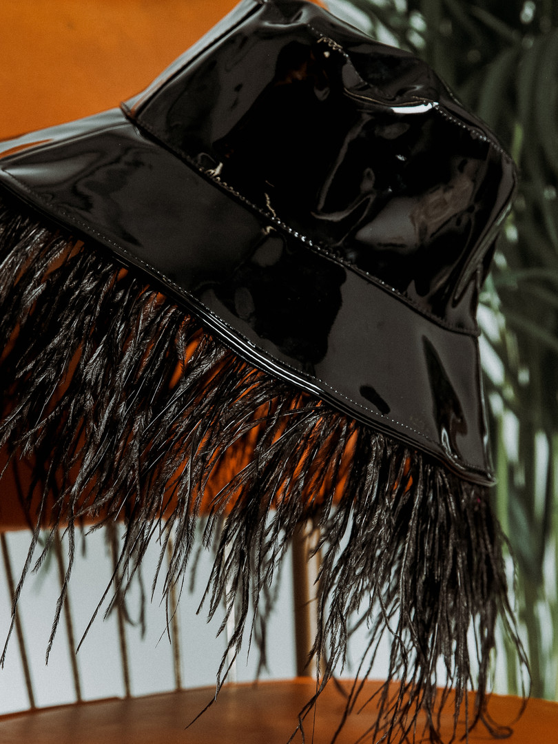 Vinyl feather bucket hat