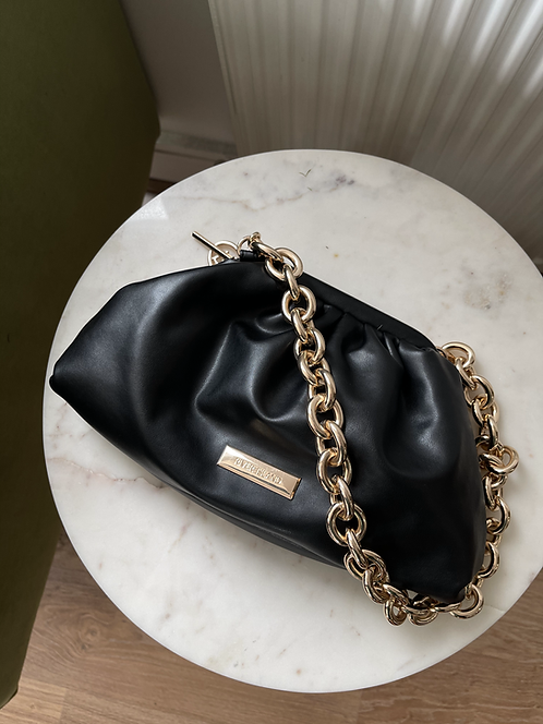 Faux leather chain ruched bag