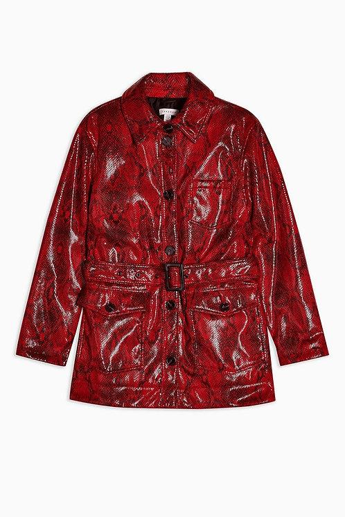 Topshop faux leather snake jacket