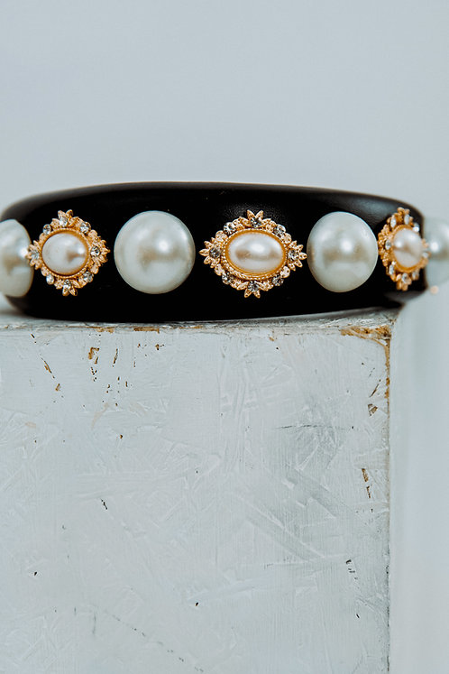 Embellished faux leather headband