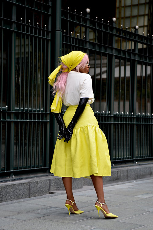 Coast Lime Yellow tiered skirt