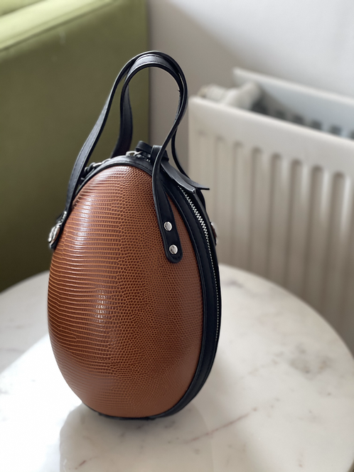 Faux leather egg shaped bag