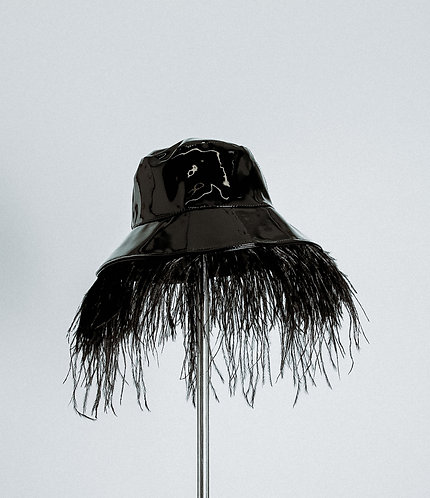 Vinyl bucket hat (with or without feather trim)