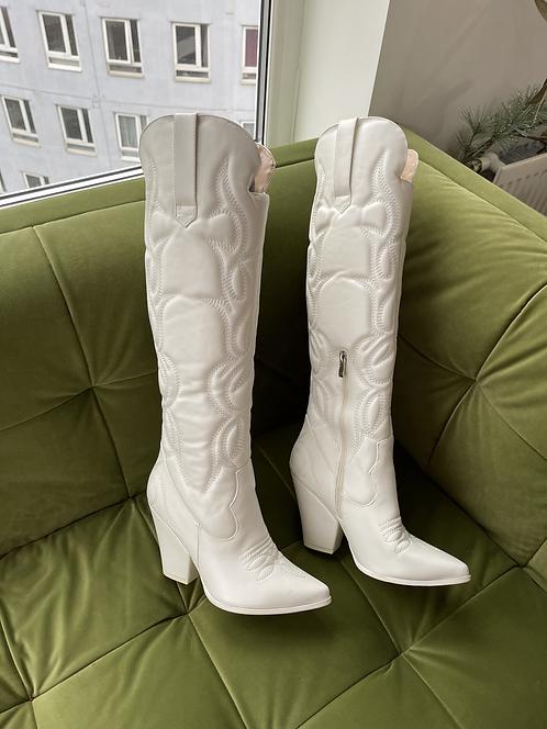 White faux leather cowboy boots