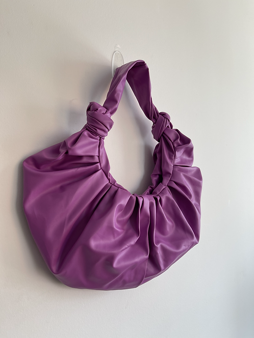 Faux leather ruched bag
