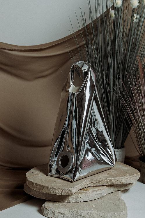 Faux leather patent shopper bag