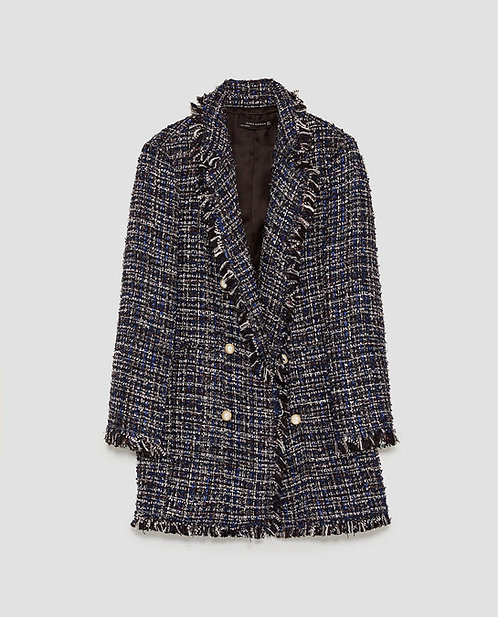 Zara long tweed jacket with pearl buttons