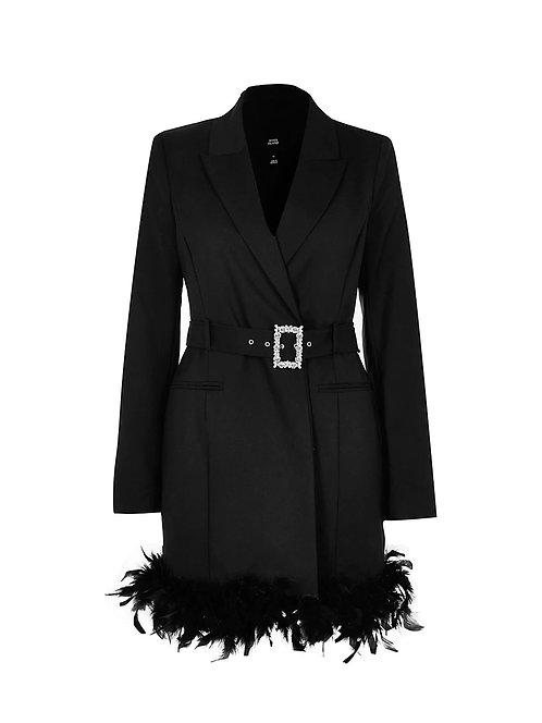 River Island feather trim blazer dress