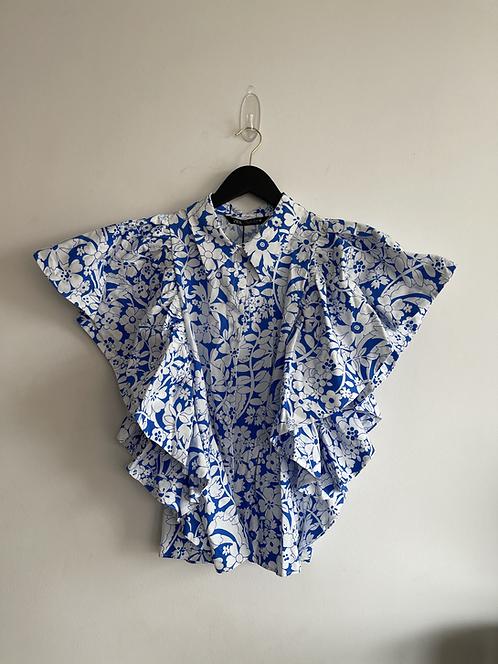 Zara floral sleeveless blouse