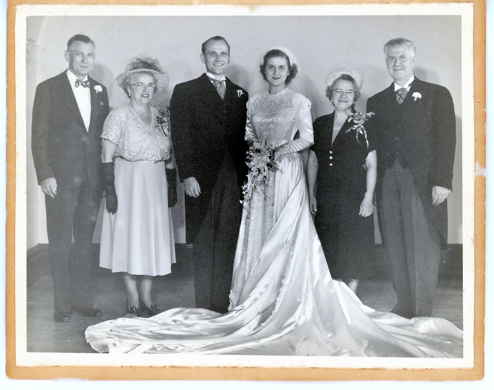 From left to right, Elmer Tenley Huddleson, Dorothy (Delong) Huddleson, Arthur Eugene Huddleson, Josephine (Purpura) Huddleson, Mary (Spagnolia) Purpura, and Vito Purpura
