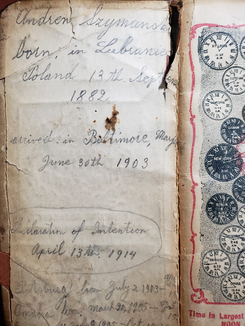 Inside front cover of 1907 Diary and Time-Saver