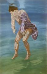 Man Undressing Under Water