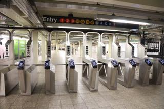 42nd St. subway turnstiles