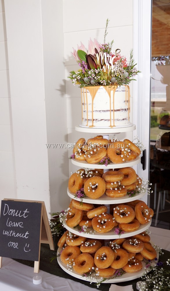 Top tier with Native Flowers and Donut Tower 1