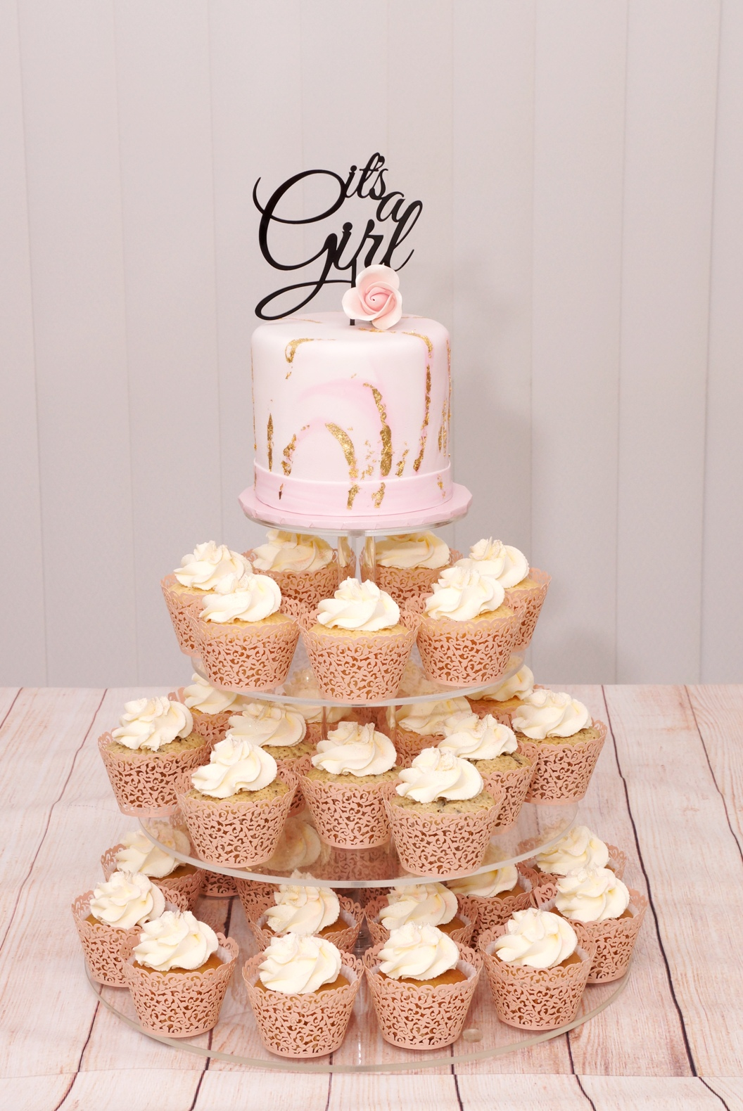 Pink Marble with gold leaf and Cupcakes