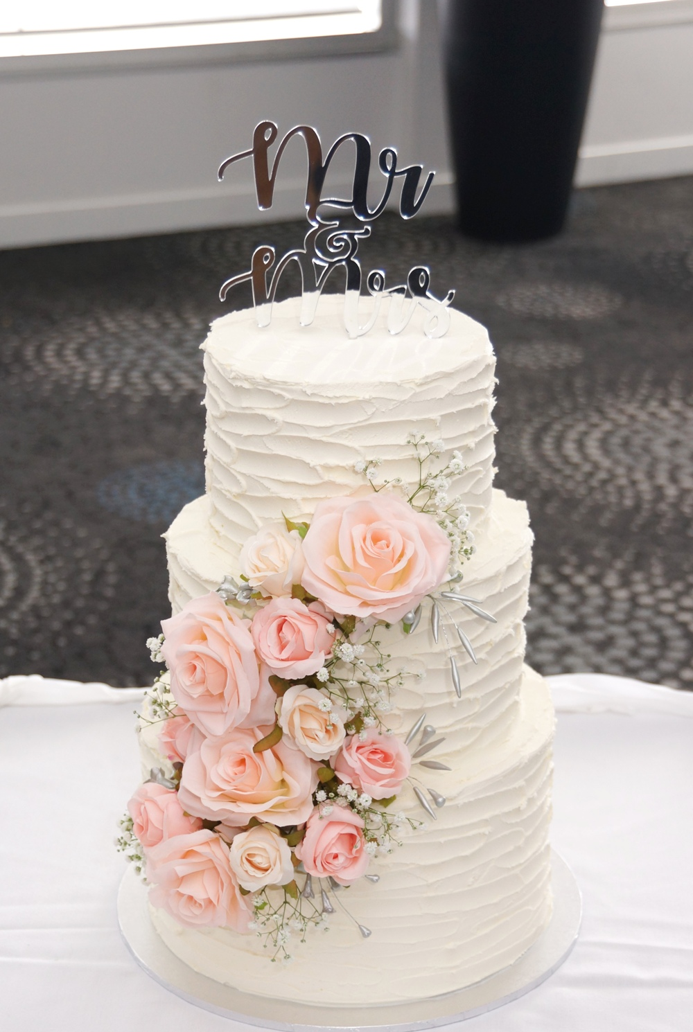 3 Tier Rustic Buttercream with silk flow