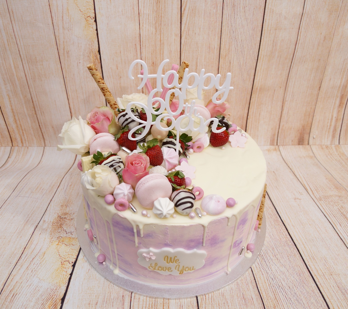 Pink mauve and white marble buttercream