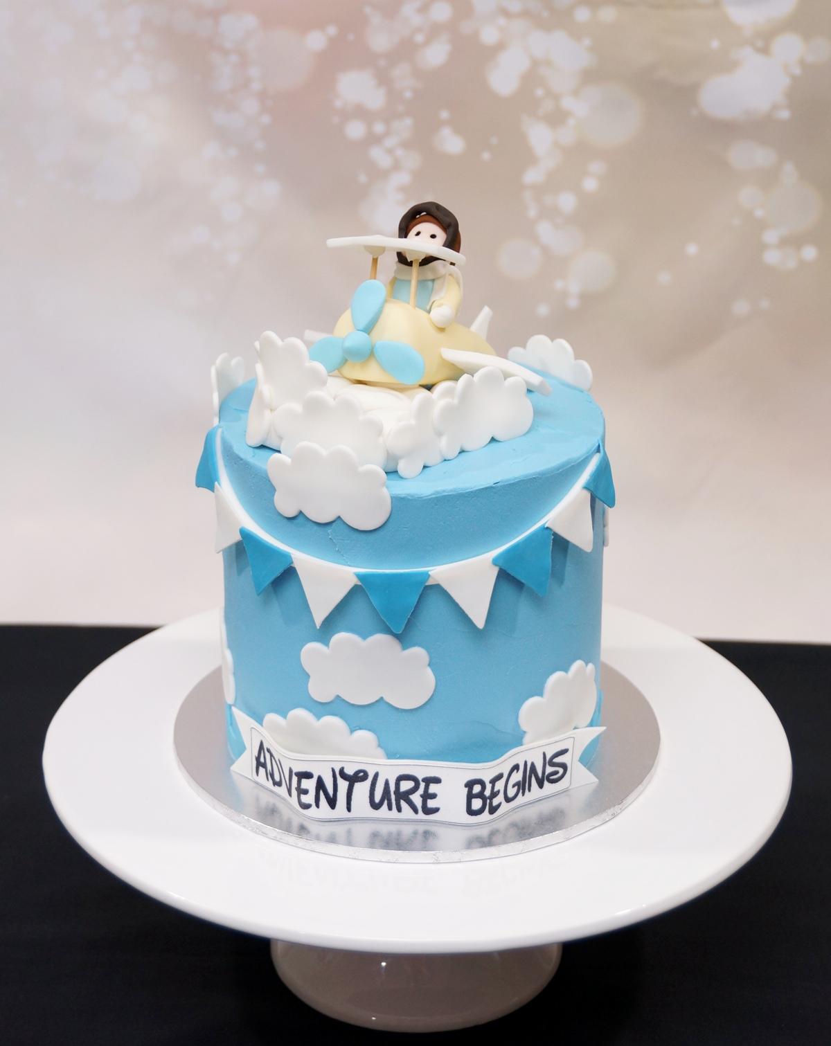 Adventure Begins Baby shower cake