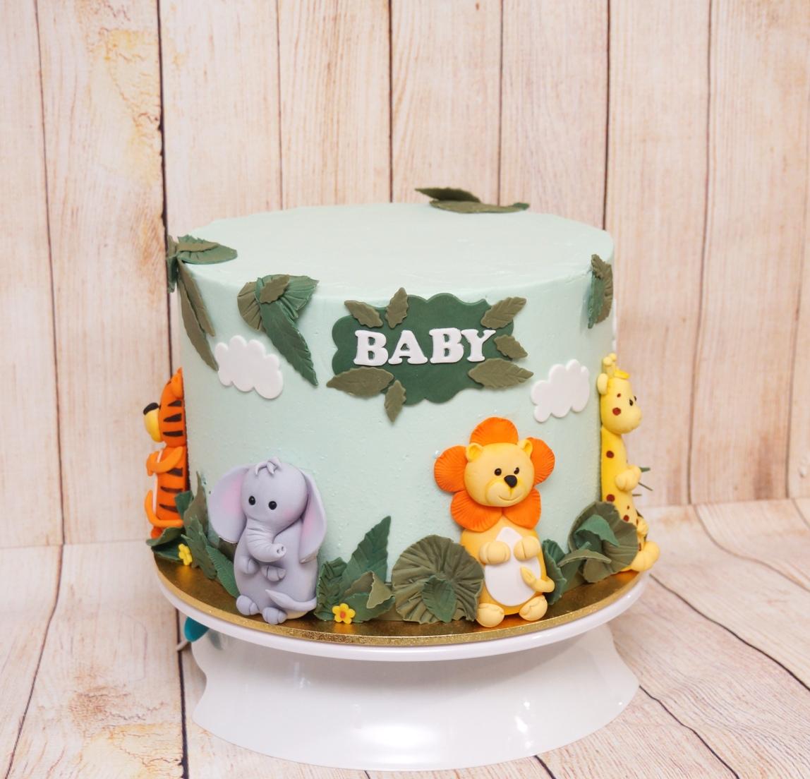 Jungle Animals Baby Shower Cake 1