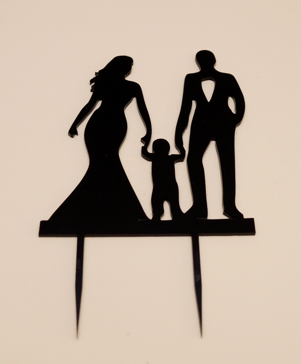 Bride & Groom with Toddler Cake Topper