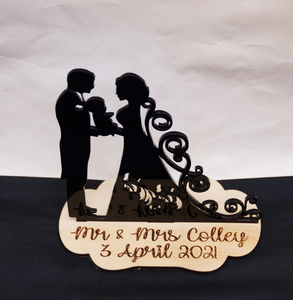 Bride & Groom with baby Stand - black &