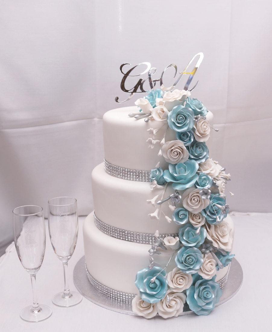 3 Tier White fondant with blue and white