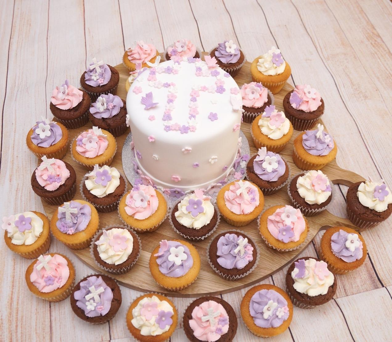 Christening Cake with flower cross 2