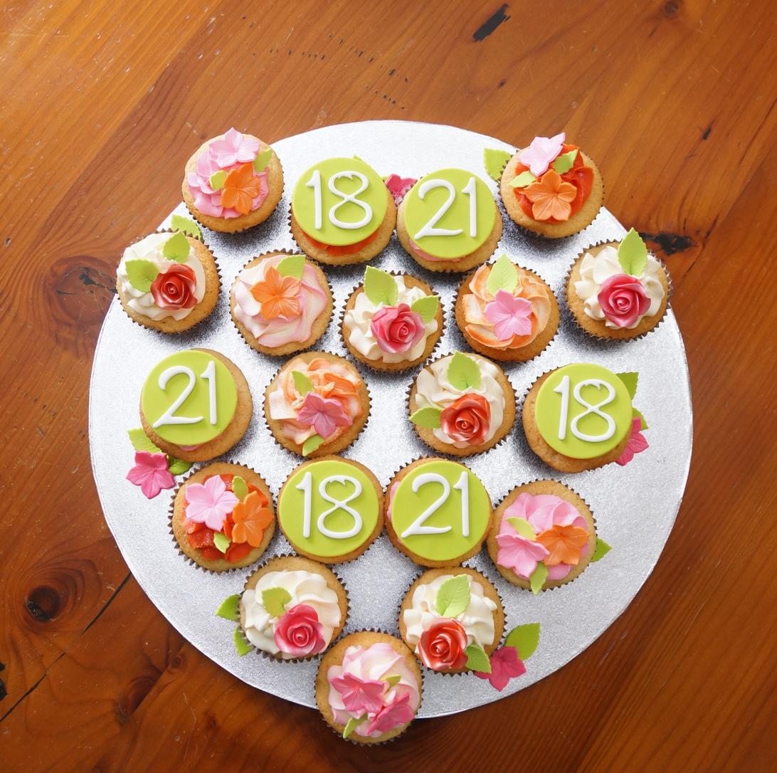 Pink, green & orange Cupcakes 1