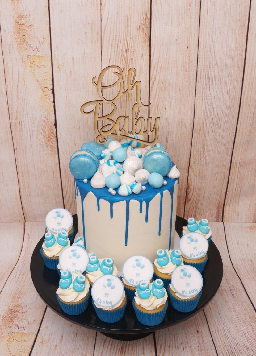 Blue Baby Shower Cake with choc drip & M