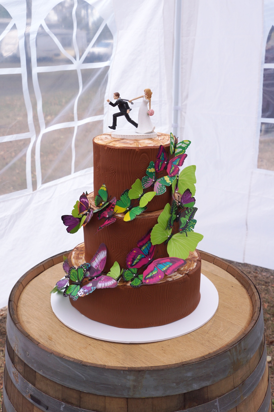 Tree Trunk Wedding Cake with Butterflies