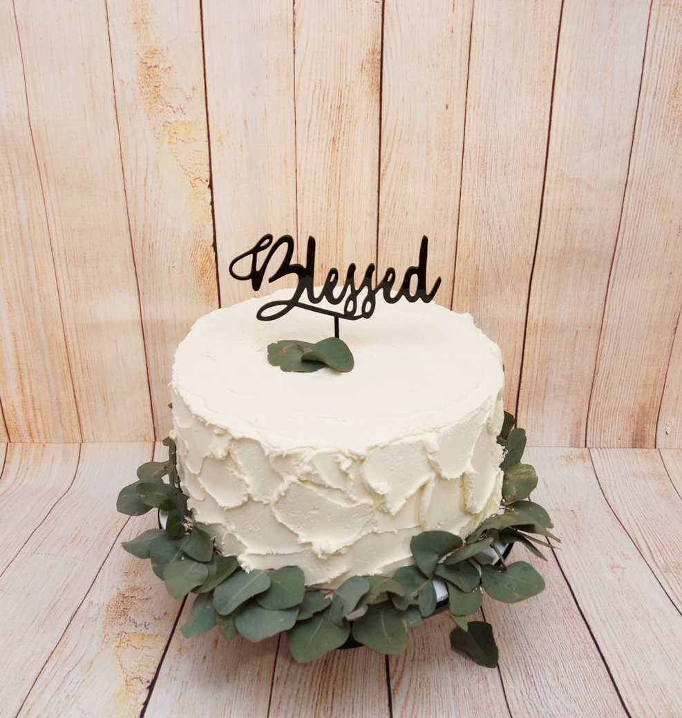 1 Tier rustic Buttercream with fresh euc