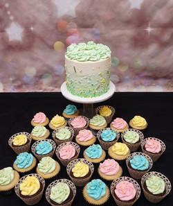 Pale Green & lemon Baby Shower cake & Cu