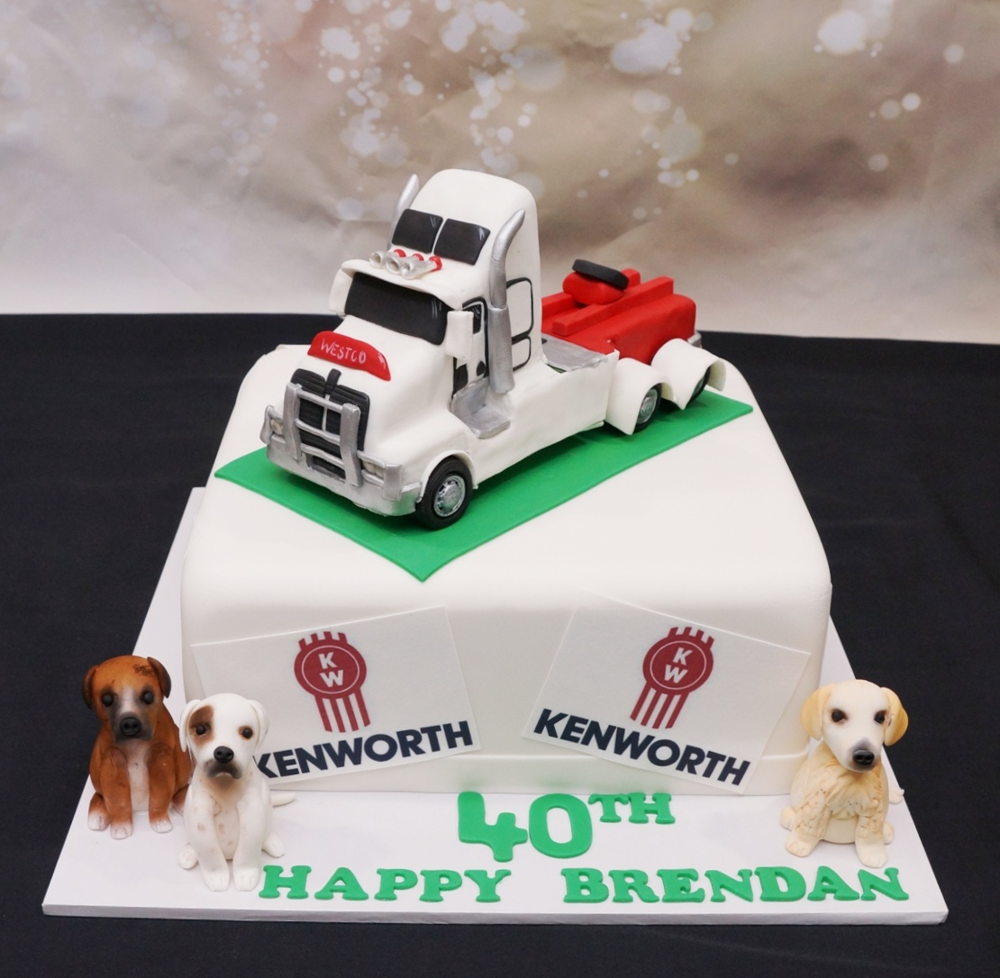 Kenworth Truck Cake with dogs 3