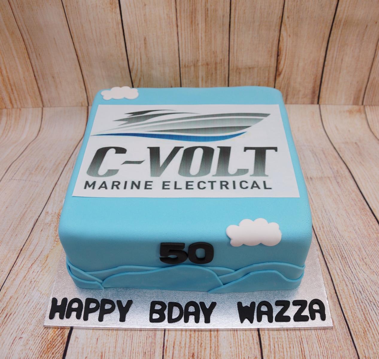Blue CVolt Boat Cake